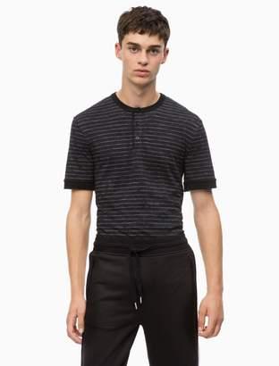 Calvin Klein slim fit jacquard stripe henley t-shirt