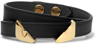 Fendi Bag Bugs Leather and Gold-Tone Wrap Bracelet - Black