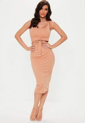 Missguided Nude Ruched Cut Out Bodycon Midi Dress