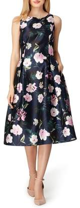 Tahari Print Mikado Midi Dress