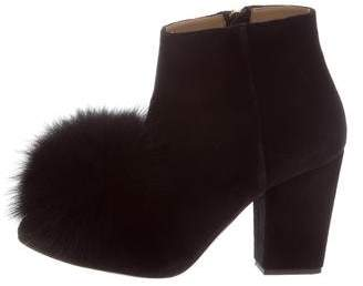 Sonia Rykiel Fox-Trimmed Ankle Boots