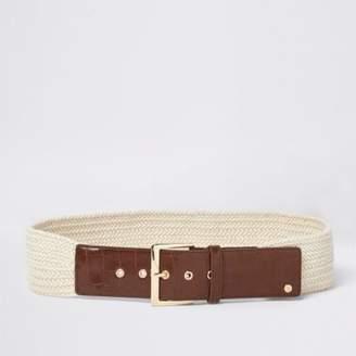 River Island Womens Cream woven knit buckle waist belt