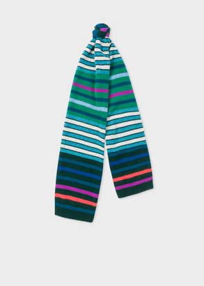 ce4839b089 Paul Smith Men's Green Multi-Coloured Stripe Wool Scarf