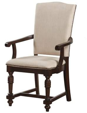 ACME Furniture Acme Tanner Beige Fabric Arm Chair in Cherry, Set of 2