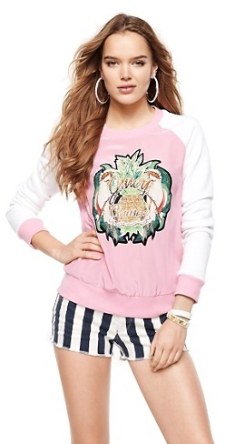 Juicy Couture Silk Parrot Print Crewneck Pullover