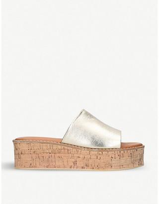 Kurt Geiger London Maci metallic leather flatform sandals