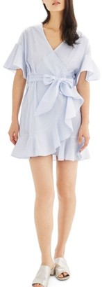 Women's Topshop Stripe Ruffle Wrap Dress $90 thestylecure.com