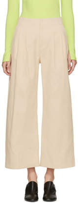 Nomia Ivory Twill Wide-Leg Trousers