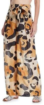 Agua de Coco Onca Leopard-Print Tie-Front Coverup Pants