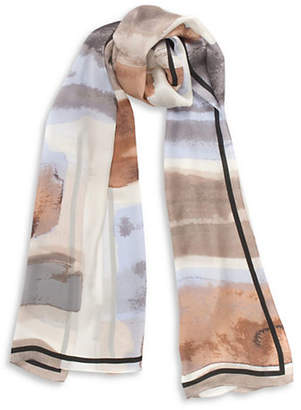 Vince Camuto Watercolour Wash Silk Long Scarf