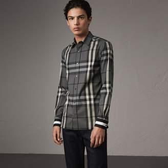 Burberry Striped Cuff Check Cotton Blend Shirt