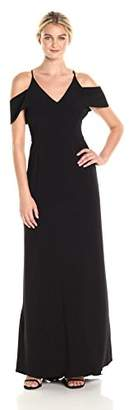 Halston Women's Short Sleeve with Cold Shoulder V Neck Crepe Gown