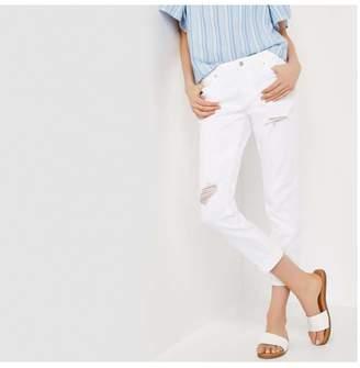 Joe Fresh Slim Boyfriend Distressed White Jeans, White (Size 25)