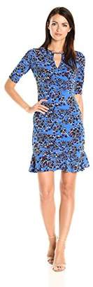Taylor Dresses Women's Tossed Jersey Floral Keyhole at Neckline