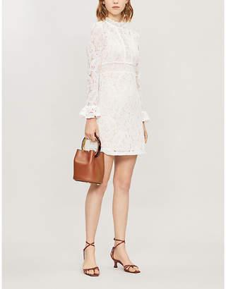 Maje Riline high-neck lace mini dress