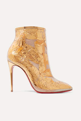 Christian Louboutin Booty Cap 100 Pvc And Metallic Crinkled-foil Ankle Boots - Gold