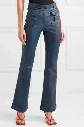 Sies Marjan Nola Belted Leather Flared Pants - Navy