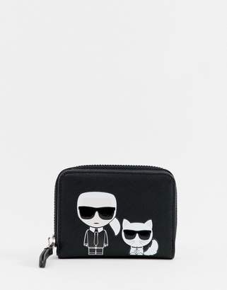 Karl Lagerfeld iconic small zip wallet
