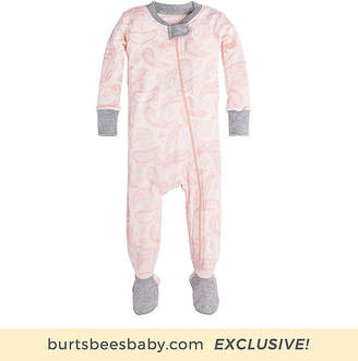 Burt's Bees Baby Flowery Paisley Organic Zip Front Footed Pajamas