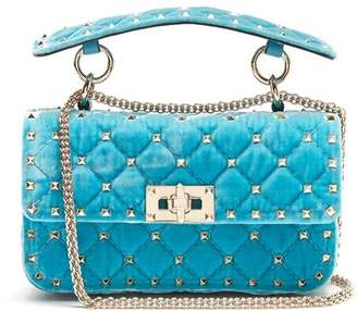 Valentino - Rockstud Spike Small Quilted Velvet Shoulder Bag - Womens - Light Blue