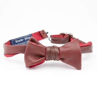 Blade + Blue Burgundy Leather Bow Tie