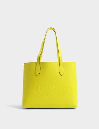 Burberry Large Remington Tote Bag in Neon Yellow Grained Calfskin