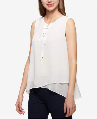 Tommy Hilfiger Tie-Neck Layered-Look Shell