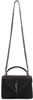 Saint Laurent Black Medium Quilted College Bag