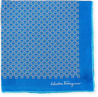 Salvatore Ferragamo Solid Border Gancini Silk Pocket Square