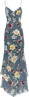 Nicholas Slate Floral Ruched Maxi Dress