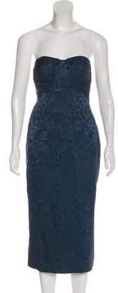 L'Wren Scott Strapless Silk & Linen-Blend Midi Dress