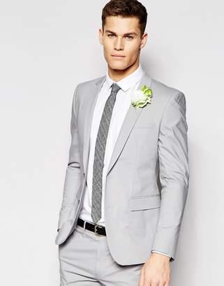 Asos DESIGN Skinny Suit Jacket In Gray Poplin