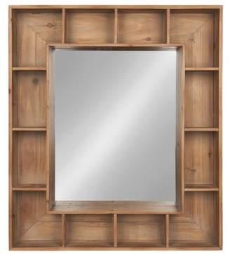 Loon Peak Gretel Rustic Wood Cubby Framed Wall Storage Accent Mirror