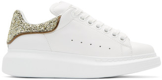 Alexander McQueen White & Gold Glitter Oversized Sneakers $575 thestylecure.com