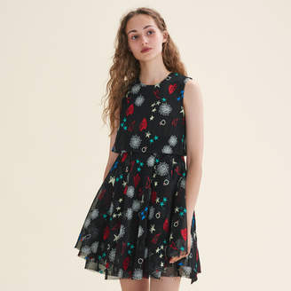 Maje Tulle sleeveless embroidered dress