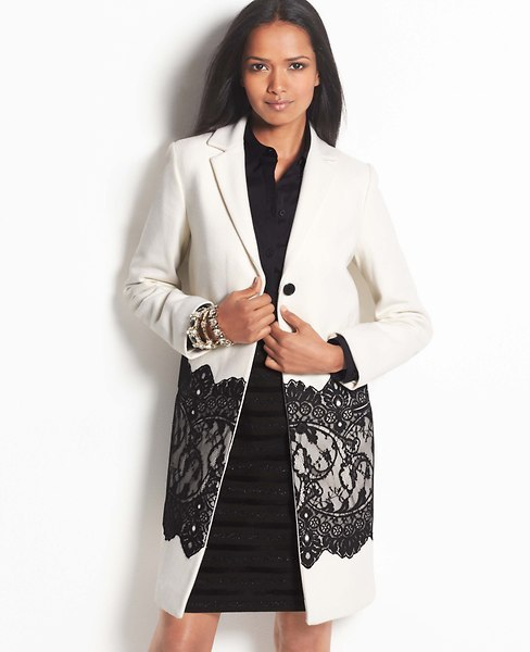 Ann Taylor Lace Overlay Coat