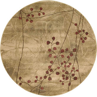 """Nourison Closeout! Round Area Rug, Somerset Collection ST74 Latte Blossom 5'6"""""""