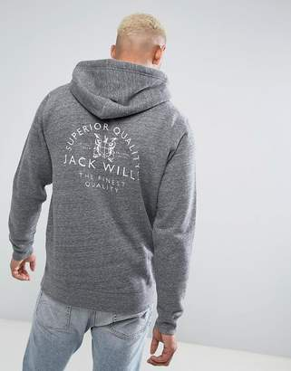 Jack Wills Batsford Hoodie With Back Print In Gray