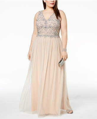 Adrianna Papell Plus Size Beaded A-Line Gown