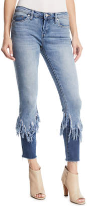 Blank NYC Return To Sender Two-Tone Cropped Fringe Skinny Jeans
