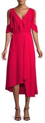ABS by Allen Schwartz Asymmetric Cold-Shoulder Midi Dress