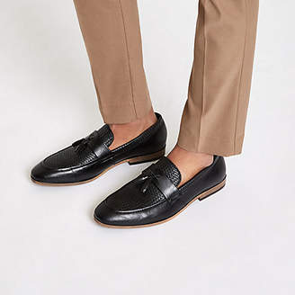River Island Black tassel woven loafers