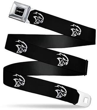 SRT Logo Full Color Black/White Seatbelt Belt - Dodge Hellcat Logo Black/White Webbing X-LARGE