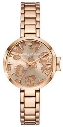 Kate Spade Park Row Rose Goldtone Roses Link Bracelet Watch