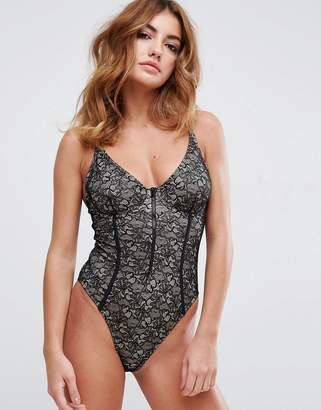 Asos DESIGN Lace Cupped Zip Through High Leg Swimsuit
