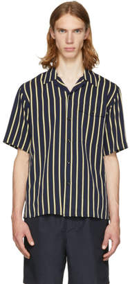 Ami Alexandre Mattiussi Navy and Yellow Stripe Short Sleeve Shirt