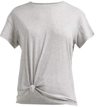 Frame Knotted Cotton T Shirt - Womens - Grey