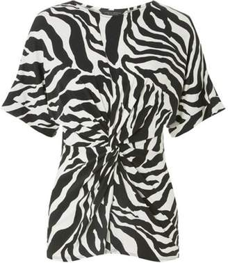 Dorothy Perkins Womens Zebra Print Knot Front Top