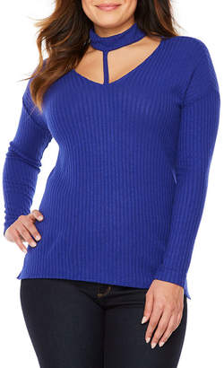 Bold Elements Long Sleeve Strapped Choker Ribbed Tunic
