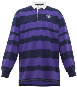 Wales Bonner Logo Embroidered Striped Rugby Shirt - Mens - Navy